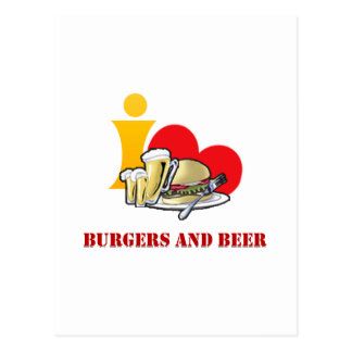 I Love Burgers and Beer Ah the Hamburger Postcard