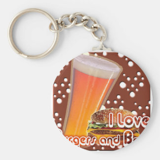 I Love Burgers and Beer Brewskies Basic Round Button Key Ring