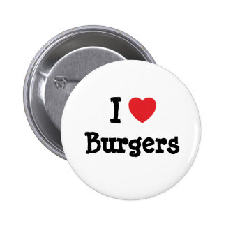 I love Burgers heart T-Shirt 6 Cm Round Badge