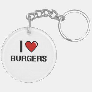 I Love Burgers Double-Sided Round Acrylic Keychain