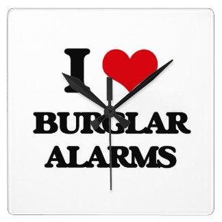 I Love Burglar Alarms Square Wallclock