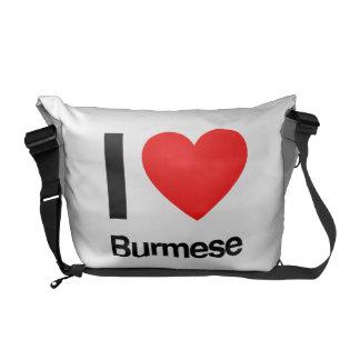 i love burmese messenger bags