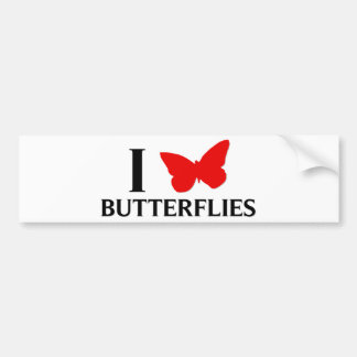 I Love Butterflies Car Bumper Sticker