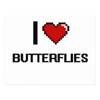 I Love Butterflies Digital Retro Design Postcard