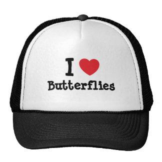 I love Butterflies heart custom personalized Hats