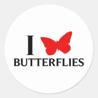 I Love Butterflies Round Sticker