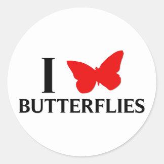 I Love Butterflies Classic Round Sticker