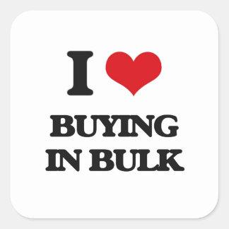 I Love Buying In Bulk Square Sticker