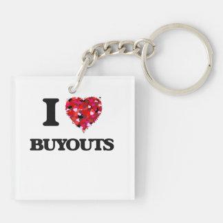 I Love Buyouts Double-Sided Square Acrylic Key Ring