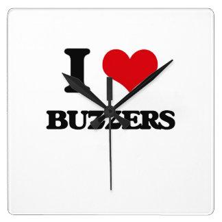 I Love Buzzers Square Wall Clock