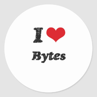 I Love BYTES Classic Round Sticker