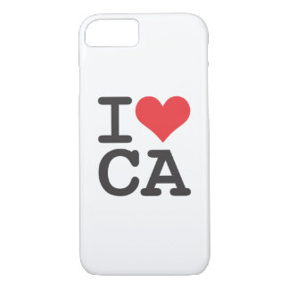 I Love CA Apple iPhone 7, Barely There Phone Case