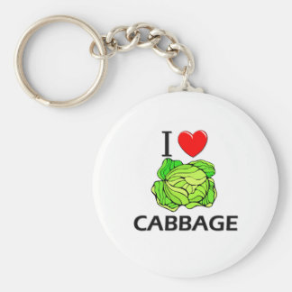 I Love Cabbage Basic Round Button Key Ring
