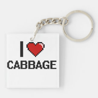 I Love Cabbage Double-Sided Square Acrylic Key Ring