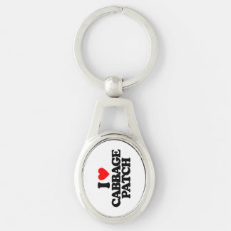 I LOVE CABBAGE PATCH Silver-Colored OVAL KEY RING