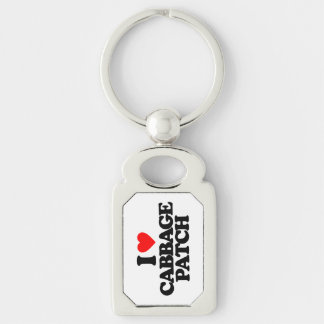 I LOVE CABBAGE PATCH Silver-Colored RECTANGLE KEY RING