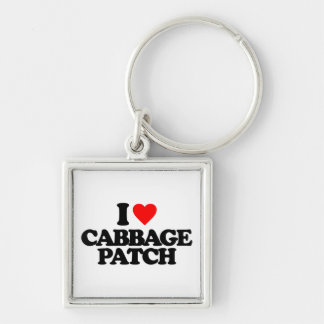 I LOVE CABBAGE PATCH Silver-Colored SQUARE KEY RING