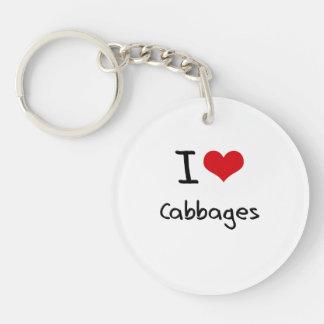 I love Cabbages Single-Sided Round Acrylic Key Ring