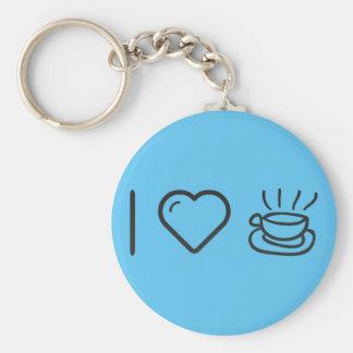 I Love Caffe Latte Basic Round Button Key Ring