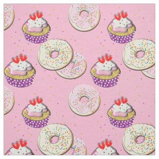 I Love Cake Cute Cup Cakes And Doughnuts Theme Fabric