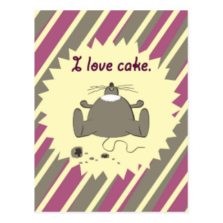 I love cake hungry happy mouse pink yellow stripes postcard