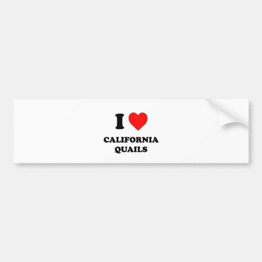 I Love California Quails Bumper Sticker