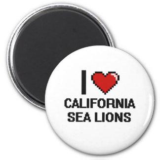 I love California Sea Lions Digital Design 6 Cm Round Magnet