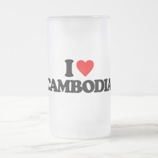 I LOVE CAMBODIA 16 OZ FROSTED GLASS BEER MUG