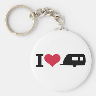 I love camping - caravan basic round button key ring