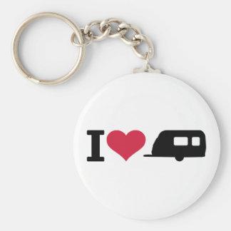 I love camping - caravan basic round button key ring