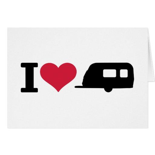 I love camping - caravan greeting card
