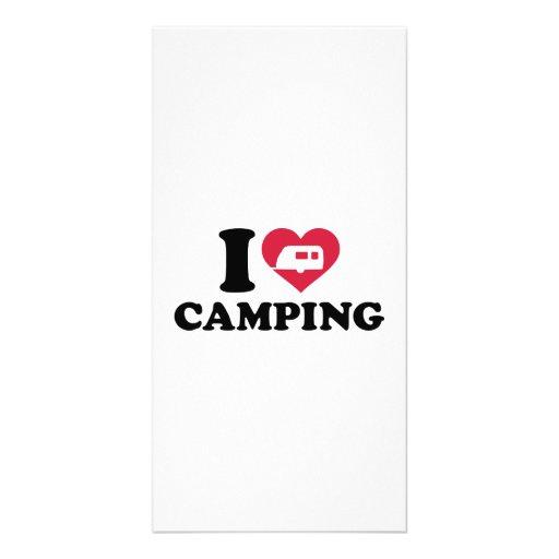 I love camping caravan trailer photo card