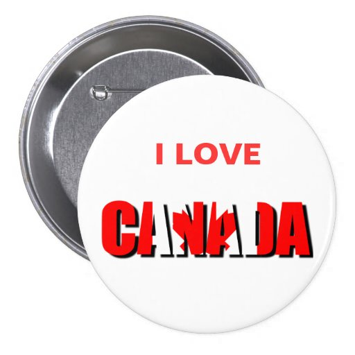 I Love CANADA Button Pinback Buttons