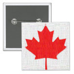 I love Canada! Canadian Flag Stitch Look Design Pinback Buttons