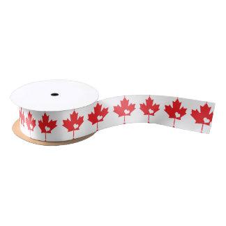 I Love Canada - Canadian Pride Maple Leaf Heart Satin Ribbon