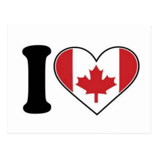I Love Canada Heart Postcard