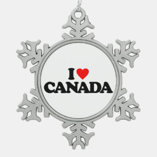 I LOVE CANADA SNOWFLAKE PEWTER CHRISTMAS ORNAMENT