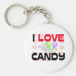 I Love Candy Basic Round Button Key Ring