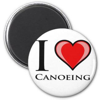 I Love Canoeing 6 Cm Round Magnet