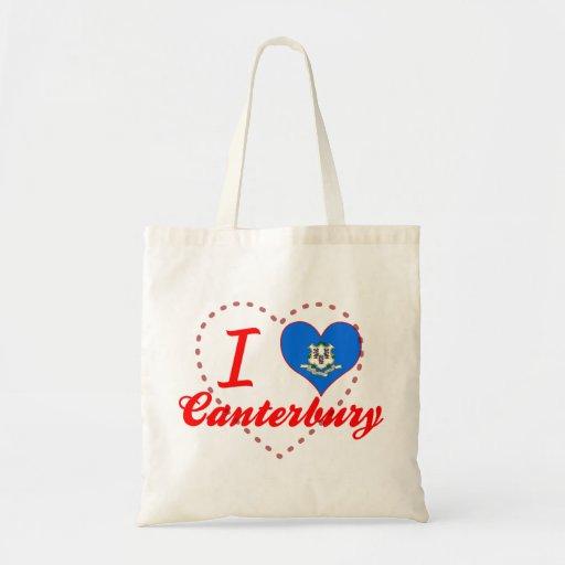I Love Canterbury, Connecticut Canvas Bag