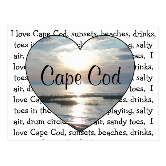I Love Cape Cod Beach Heart Post Card