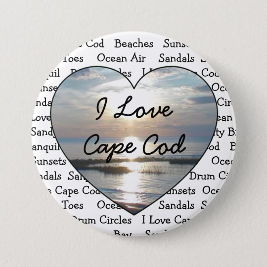 I Love Cape Cod Heart Button