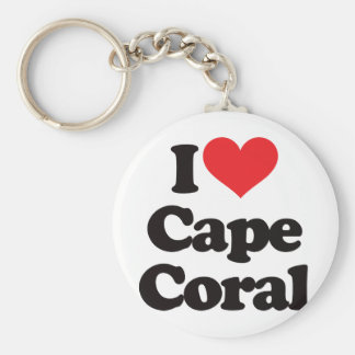 I Love Cape Coral Basic Round Button Key Ring