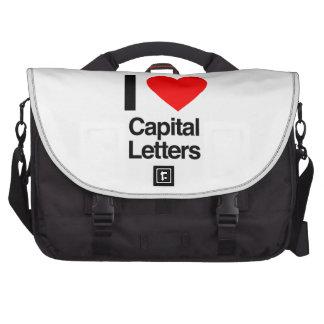 i love capital letters laptop bag