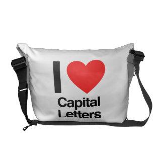 i love capital letters messenger bags