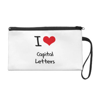 I love Capital Letters Wristlet Clutches