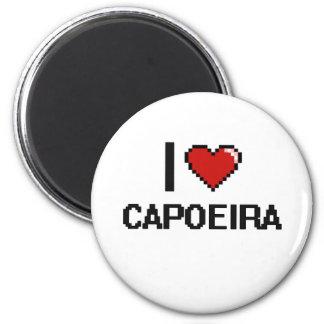 I Love Capoeira Digital Retro Design 6 Cm Round Magnet
