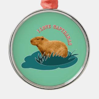 I Love Capybaras Christmas Ornament