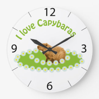 I love Capybaras Large Clock