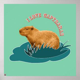 I Love Capybaras Poster